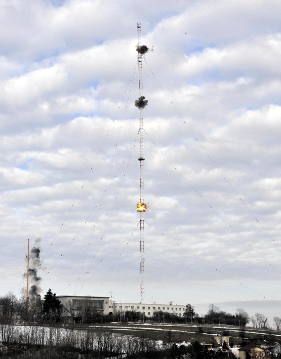 Bisamberg Sprengung der Sendemasten am 24.02.2010