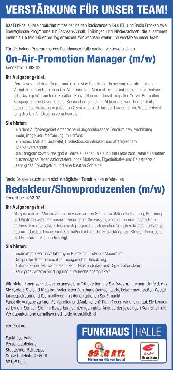 Funkhaus Halle sucht On-Air-Promotion Manager und Redakteur/Showproduzent