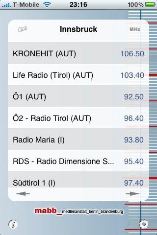 UKW-Frequenzliste der mabb-App