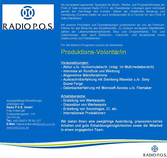 Radio P.O.S. sucht Produktions-Volontär/in