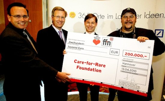 Andreas Staudacher (Vorstand Care-for-Rare), Ministerpräsident Christian Wulff, Prof. Dr. Dr. Christoph Klein, ffn-Morgenmän Franky