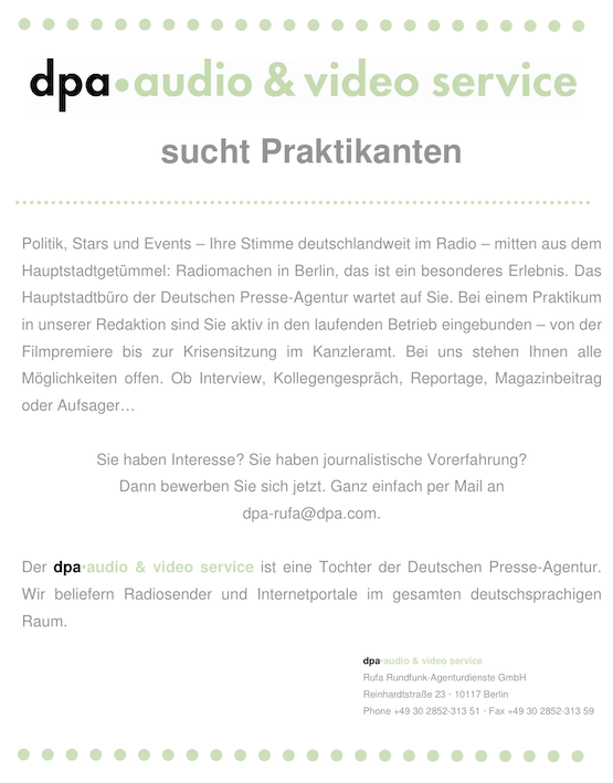 dpa audio & video service sucht Praktikanten