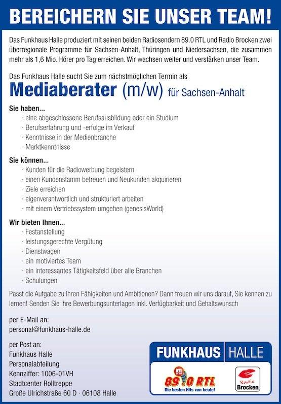 Funkhaus Halle sucht Mediaberater (m/w)