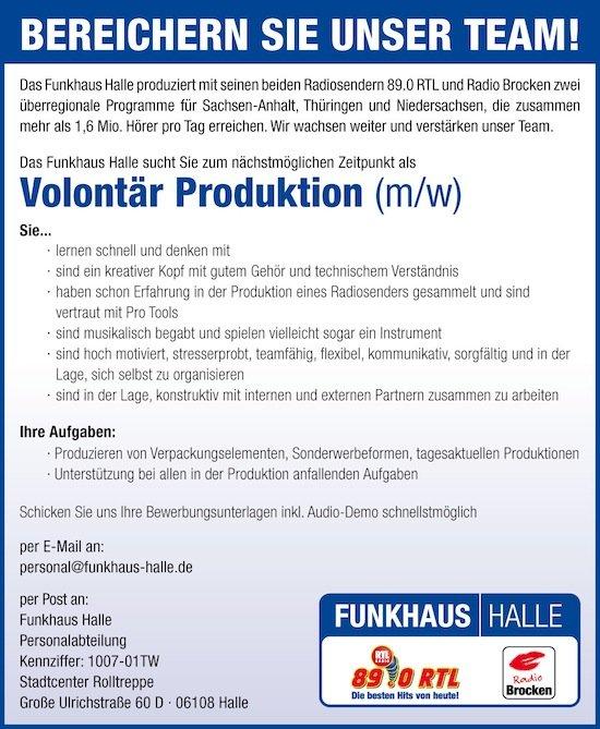 Funkhaus Halle sucht Volontär Produktion (m/w)