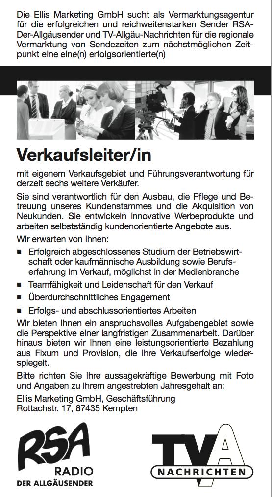 Das Rundfunkhaus Allgäu sucht Verkaufsleiter/in