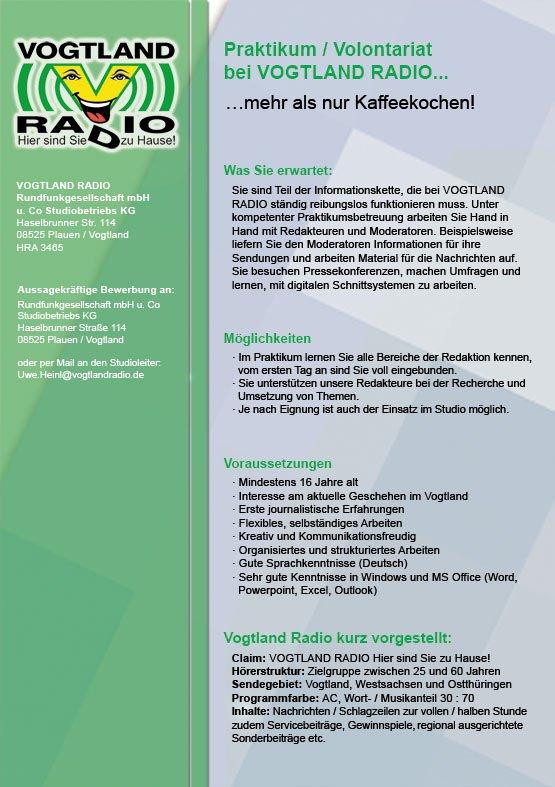 Vogtlandradio bietet Praktikum/Volontariat