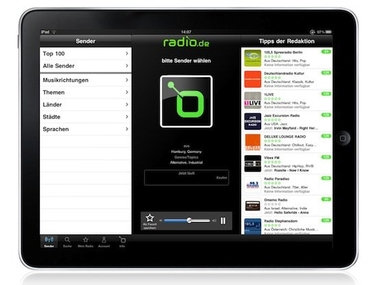 radio.de am iPad
