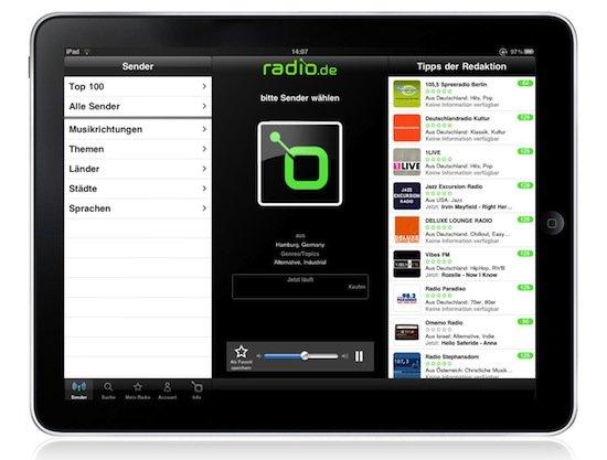radio.de am iPad