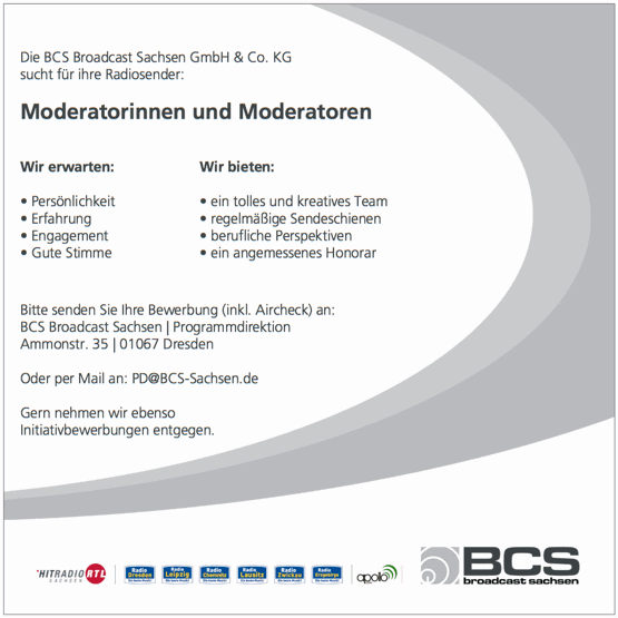 BCS sucht Moderatorinnen und Moderatoren