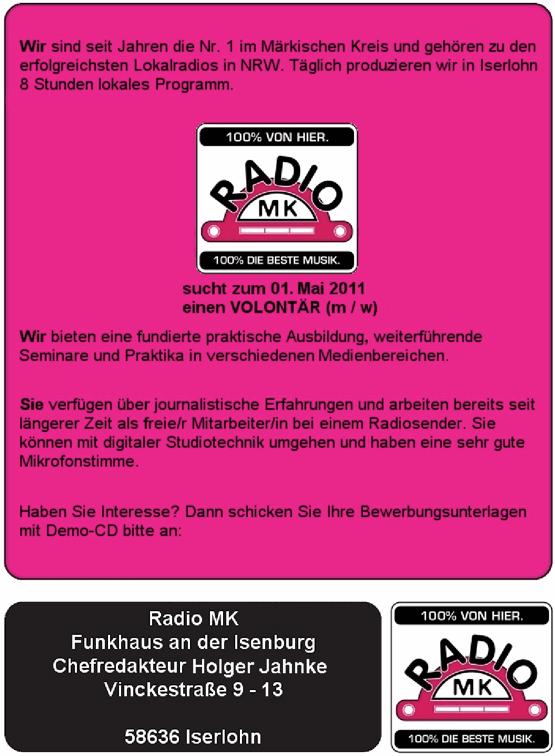 RADIO MK sucht zum 01. Mai 2011 einen Volontär (m/w)