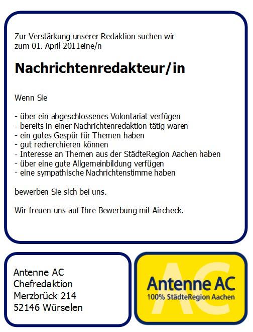 Antenne AC sucht Nachrichtenredakteur (m/w)