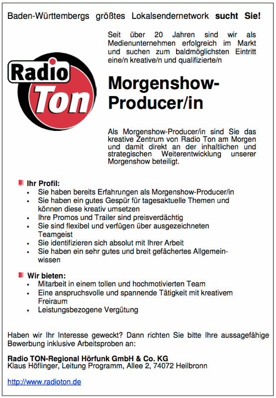 radio ton sucht morgenshow producer in