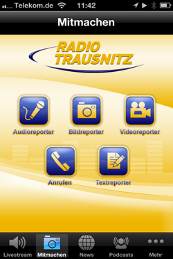 Radio-Trausnitz-App-Reporterfunktion