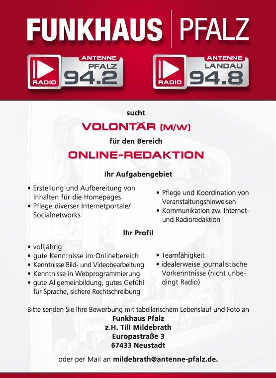 FUNKHAUS|PFALZ sucht Volontär (m/w) für Online-Redaktion