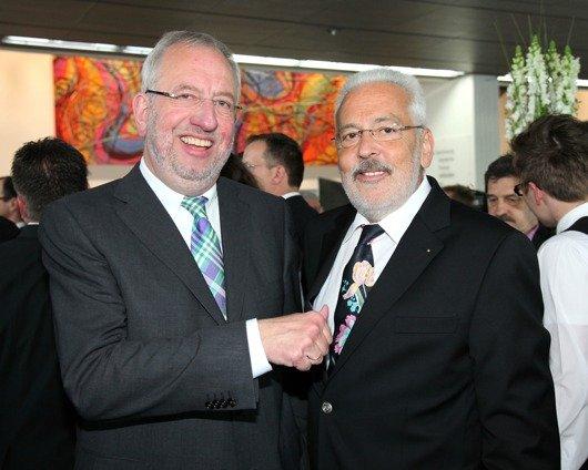 Hans- Dieter Hillmoth (Geschäftsführer Radio/Tele FFH) und Walter Thul (Verlagsleiter Mittelrhein- Verlag) Foto: RPR1./Michael Wallrath