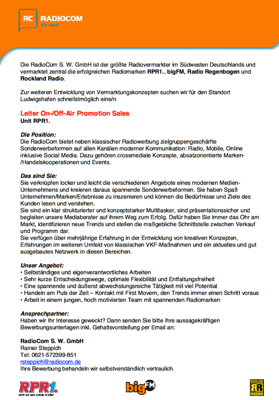 RadioCom sucht Leiter On-/Off-Air Promotion Sales