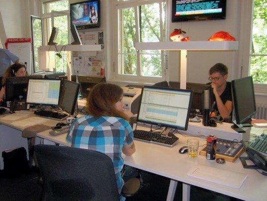 Redaktionsraum bei Radio 1
