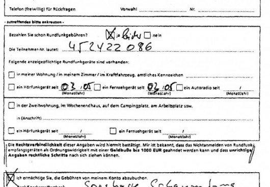 GEZ-Antrag aus dem Jahr 2005 ausgefüllt von Bernd Hilder