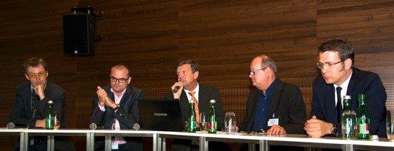 Rüdiger Landgraf (KRONEHIT), Albert Malli (Hitradio Ö3), Johannes Trottberger (Bayern Digitalradio). Alfred Grinschgl (RTR), Florian Novak (Lounge FM)