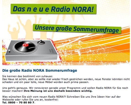 Radio NORA-Sommerumfrage (Bild: radio NORA Homepage)
