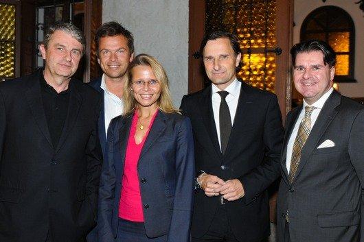 Dr. Ludwig Bauer (GF ATV), Mag. Markus Breitenecker (GF PULS 4/VÖP-Vizepräsident), Bundesministerin Dr. Beatrix Karl, Dr. Klaus Schweighofer (GF Antenne Steiermark/VÖP Präsident), Mag. Gerald Grünberger (GF VÖZ)