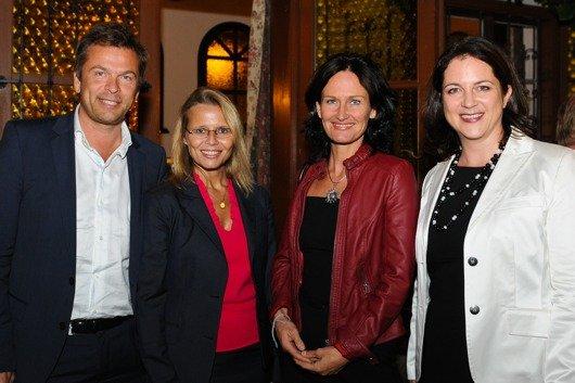 Mag. Markus Breitenecker (GF PULS 4/VÖP-Vizepräsident), Bundesministerin Dr. Beatrix Karl, Dr. Eva Glawischnig-Piesczek (Bundessprecherin der Grünen), Dipl.Kffr. Corinna Drumm (GF VÖP)