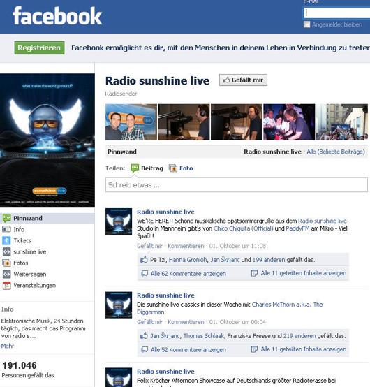 Die Facebook-Seite von Radio Sunshine Live. Screenshot vom Oktober 2011.