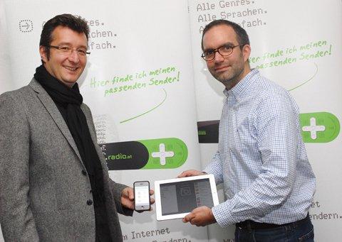 Bernhard Greil, Bereichsleiter Online und Marketing der Moser Holding, Bernhard Bahners, Geschäftsführer radio.de.