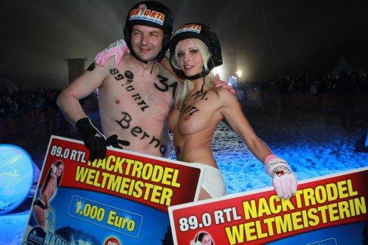 Mia Magma und Bernd Malyska sind die Sieger des 4. Internationalen 89.0 RTL Nacktrodelns