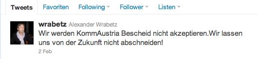 Reaktion von ORF Generaldirektor Alexander Wrabetz auf twitter