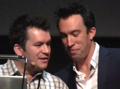Christian O'Connell (rechts) hatte seinen Morningshow-Produzenten Richie mit nach Barcelona gebracht