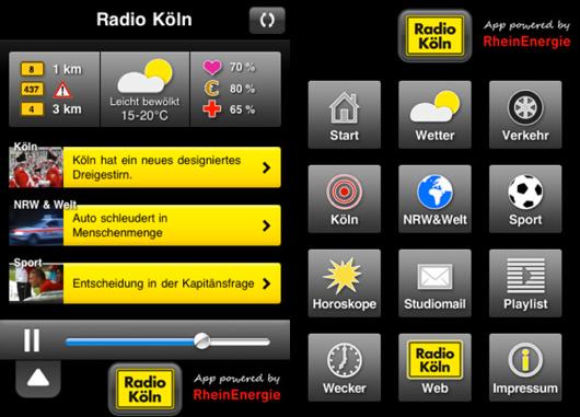 So sieht die iPhone-App von Radio Köln aus (Bild: iTunes)