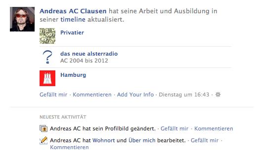facebook-Timeline von Andreas AC Clausen