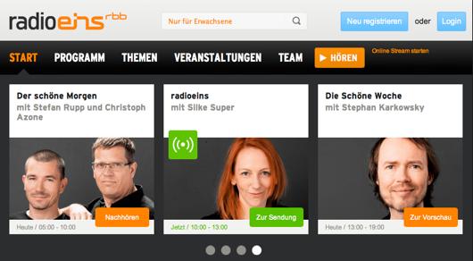 Relaunch: Die Internetseite radioeins.de präsentiert sich in modernem Design