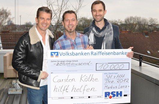 R.SH-Scheckübergabe: Markus Lanz, Volker Mittmann, Bill De Lisle (Bild: R.SH)