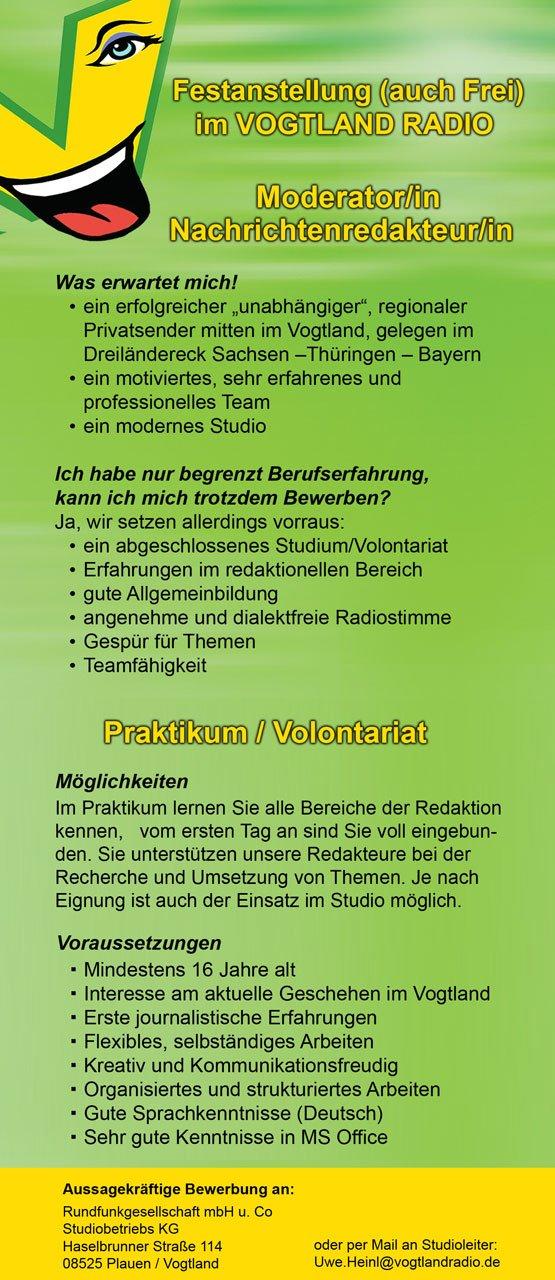 Vogtland Radio Stellenangebot