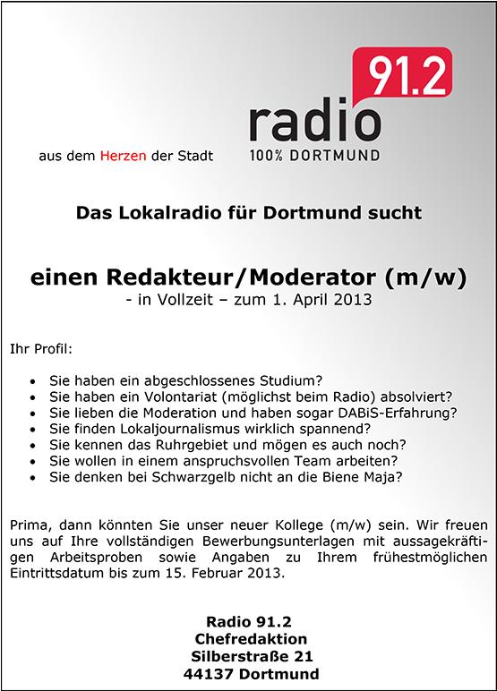 radio 91 2 dortmund sucht redakteur moderator m w. Black Bedroom Furniture Sets. Home Design Ideas