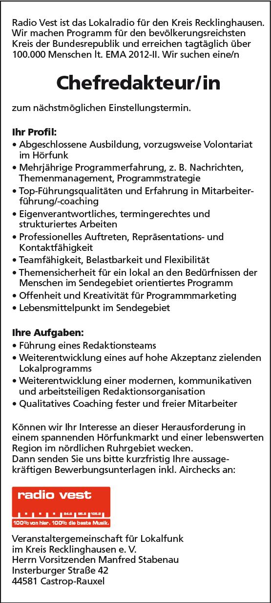 Radio Vest sucht Chefredakteur/in