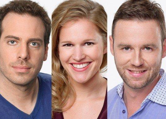 Die Radio SRF 3-Vorabendmoderatoren v.l. Tom Gisler, Kathrin Hönegger und Nik Hartmann