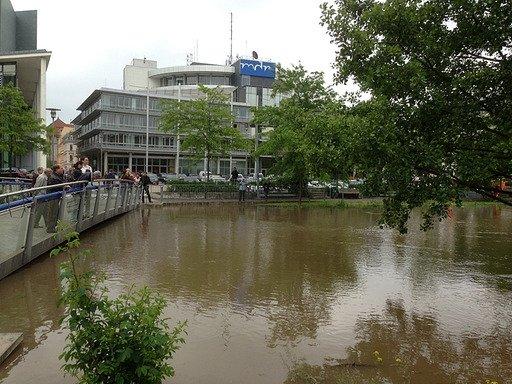 Hochwassser beim MDR in Halle (Bild: MDR/Michael Bajohr)