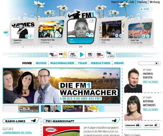Screenshot der neuen Homepage vom FM1