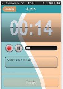 Aufnahmefunktion in der deinPULS-App (Bild: Screenshot aus iTunes)