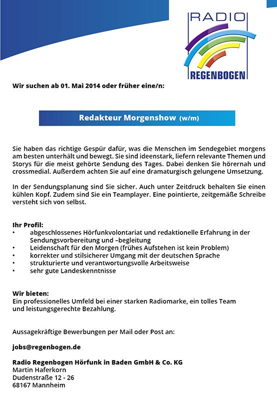 Radio Regenbogen sucht ab 1. Mai 2014 oder früher eine/n Redakteur Morgenshow (m/w).