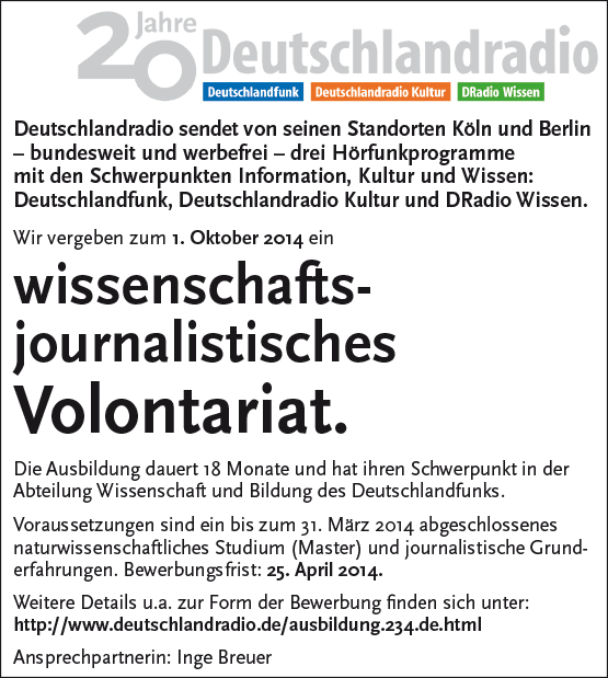 Deutschlandradio vergibt wissenschaftsjournalistisches Volontariat