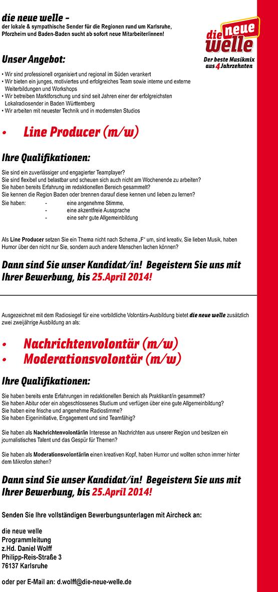 die neue welle sucht Line Producer (m/w), Nachrichten- und Moderationsvolontär (m/w)