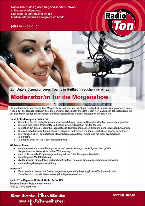 Zur Unterstützung des Teams in Heilbronn sucht Radio Ton eine/n Moderator/in für die Morgenshow.