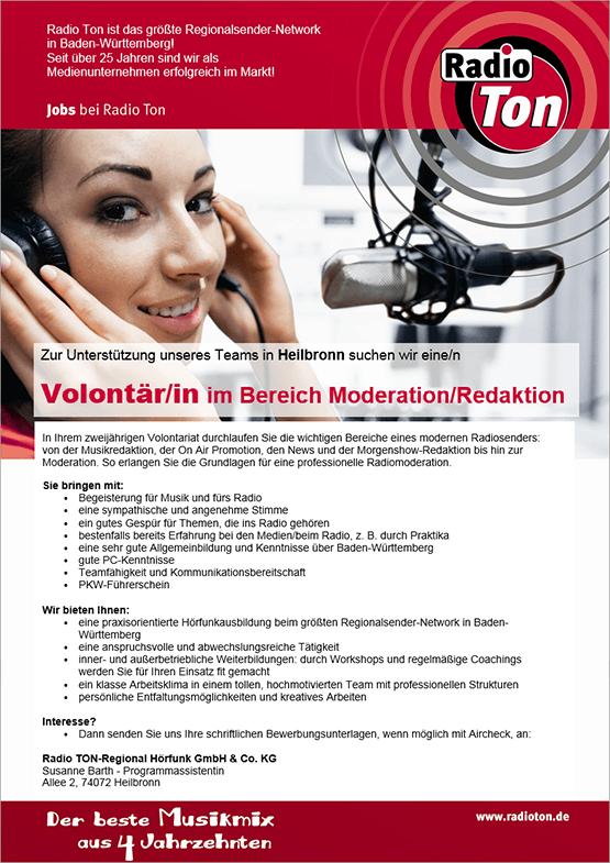 Zur Unterstützung des Teams in Heilbronn sucht Radio Ton eine/n Volontär/in im Bereich Moderation/Redaktion.