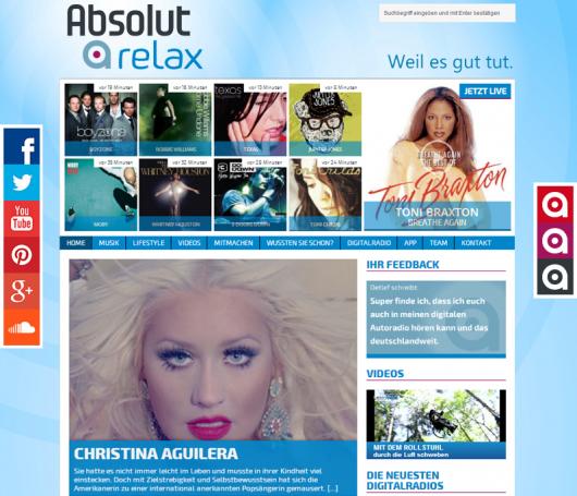 Screenshot der Webseite von Absolut Relax