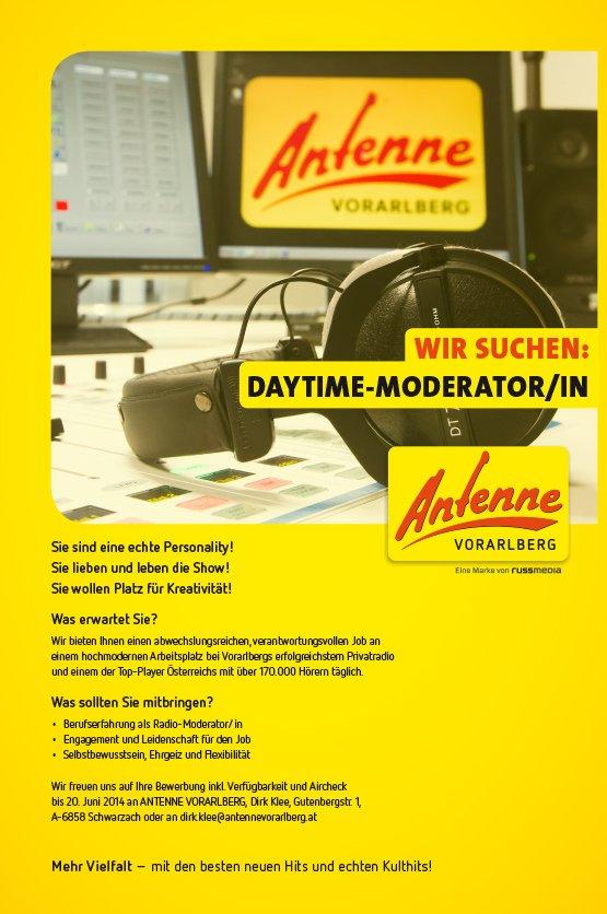 Sie sind eine echte Personality! Sie lieben und leben die Show! Sie wollen Platz für Kreativität! Was erwartet Sie? Wir bieten Ihnen einen abwechslungsreichen, verantwortungsvollen Job an einem hochmodernen Arbeitsplatz bei Vorarlbergs erfolgreichstem Privatradio und einem der Top-Player Österreichs mit über 170.000 Hörern täglich. Was sollten Sie mitbringen? • Berufserfahrung als Radio-Moderator/in • Engagement und Leidenschaft für den Job • Selbstbewusstsein, Ehrgeiz und Flexibilität