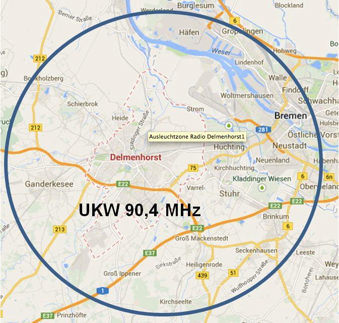 Ungefähres Sendegebiet von Radio Delmenhorst